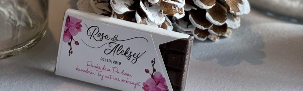 Personalisierte Schokotafel als Namensschild