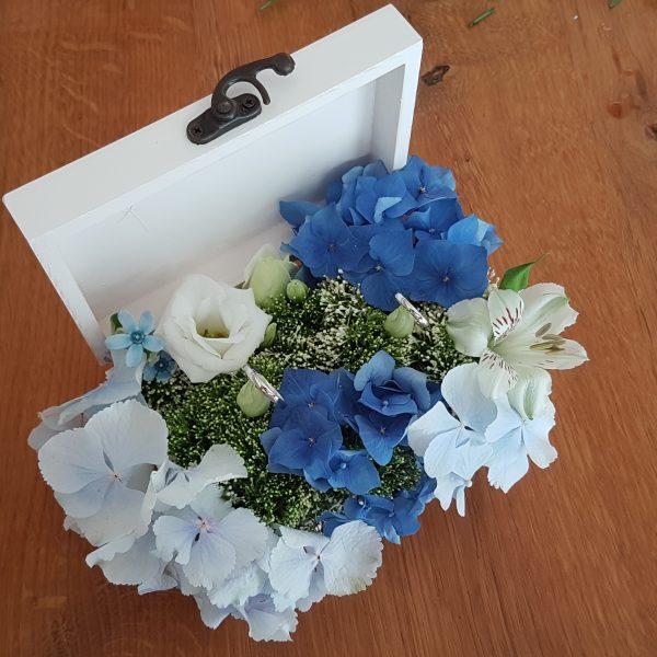 Blumige Ringbox mit Hortensien